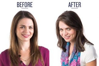 A beautiful Type 2 woman showing her Before & After makeover