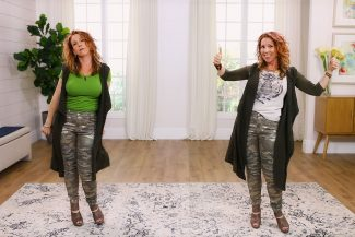 Anna K modeling outfits that show her yin/yang combo